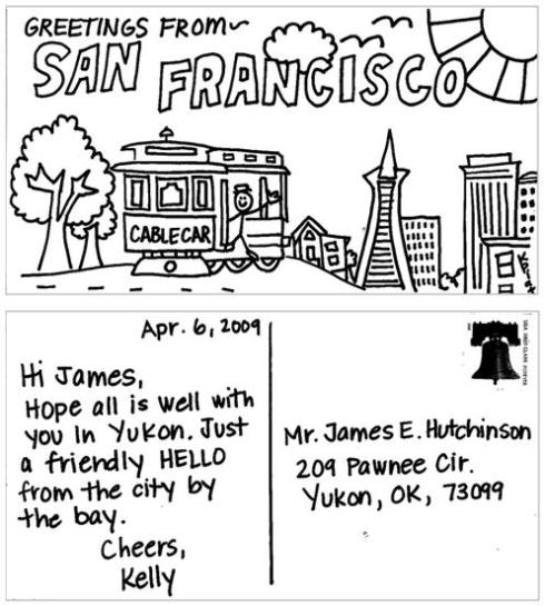 Cartão-postal enviado para o Sr. Hutchinson