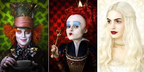 Johnny Depp, como o Chapeleiro Maluco; Helena Bonham Carter, como a Rainha de Copas e Anne Hathaway, como a Rainha Branca