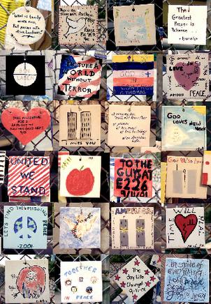 Azulejos pintados por crianças com mensagens de solidariedade/imagem: Remki van Dokkum