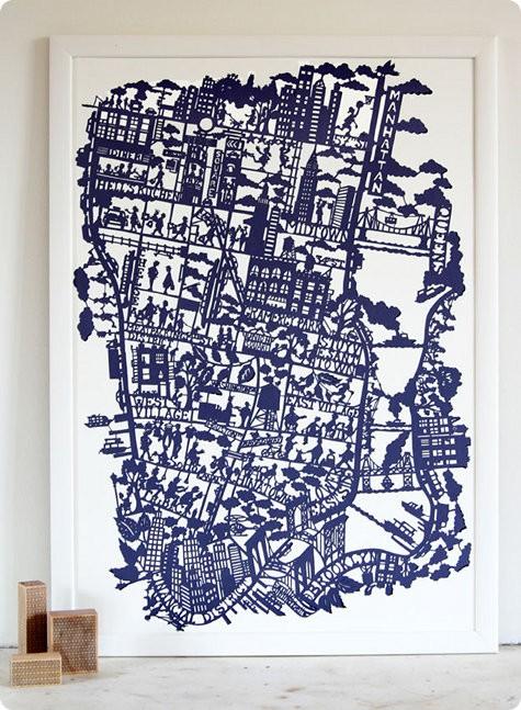 Mapa de NYC todo recortado em papel, da Famille Summerbelle